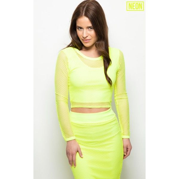 4ee40beb678 Eleanor Neon Yellow Fishnet Long Sleeve Crop Top ( 7.18) ❤ liked on  Polyvore featuring tops