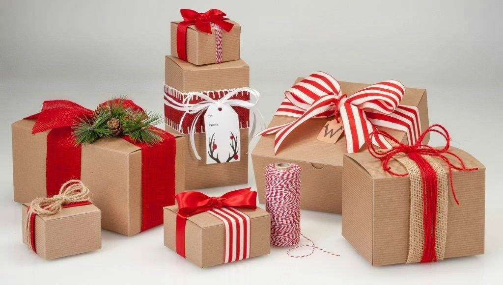 Kraft gift boxes with red ribbon from nashville wraps