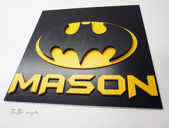 Customized Superhero Batman, wooden wall art, children\'s bedroom ...