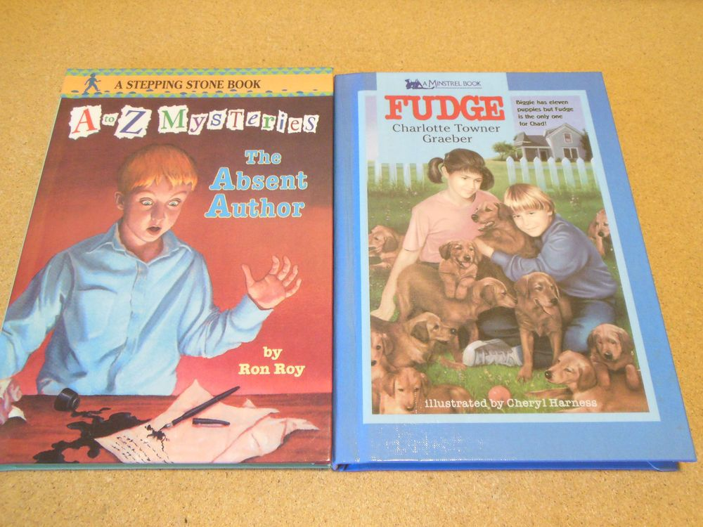 LOT TWO Turtleback HB The Absent Author A to Z Mysteries AND FUDGE Dog Story
