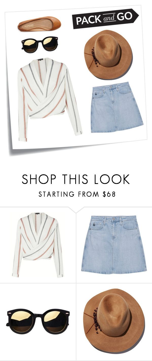 """""""labor day weekend #packandgo"""" by carolinejbrooks ❤ liked on Polyvore featuring Post-It, AG Adriano Goldschmied, Eugenia Kim and Aéropostale"""