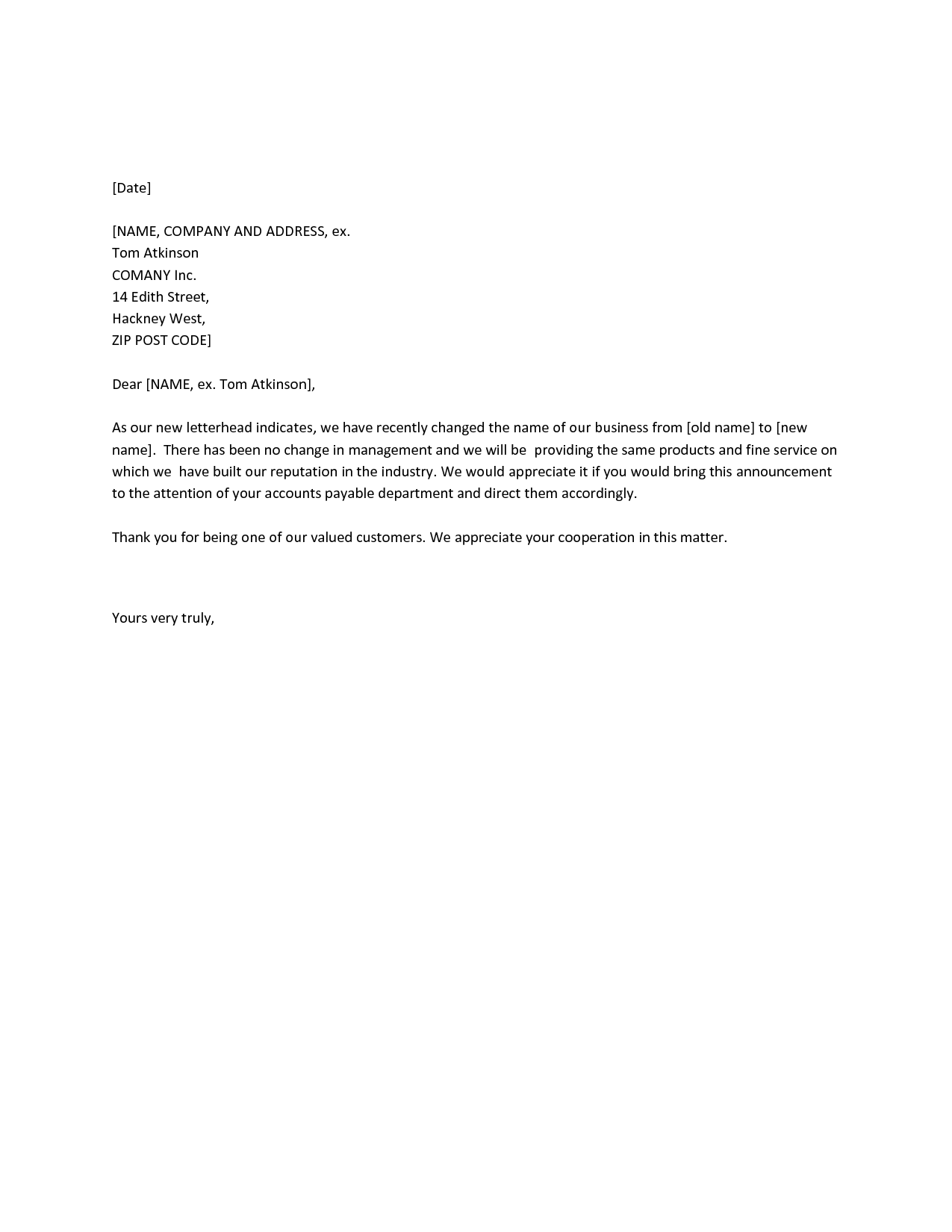 Business Name Change Letter  Printable Sample Letter Of Resignation