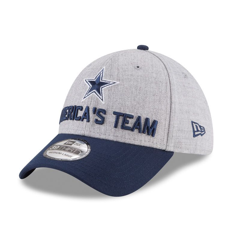 c7f9d12737d595 Dallas Cowboys New Era Youth 2018 NFL Draft Official On-Stage 39THIRTY Flex  Hat – Heather Gray/Navy