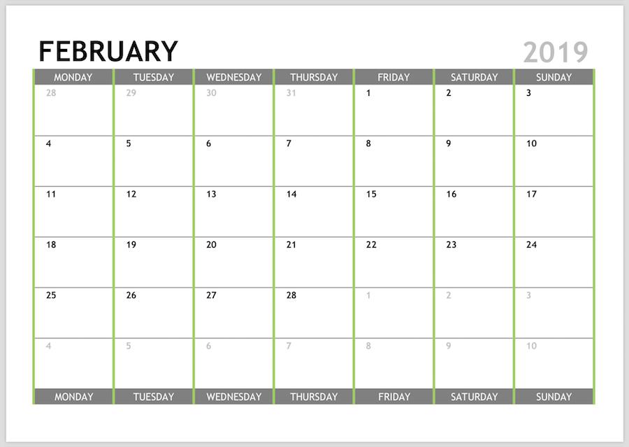 Vertex February Calendar 2019 Printable February 2019 Calendar