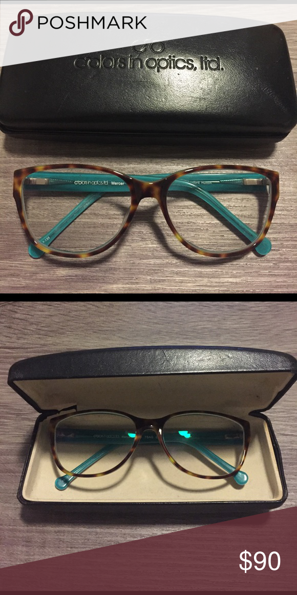 Colors in Optics, ltd Eye Glasses Tortoise shell frames with aqua/turquoise color on the inner frames. Very trendy and stylish! A slightly oversized rounded square shape flattering on all face shapes. No signs of wear, excellent condition. Still tight so don't need to be adjusted. Real description lenses so you can swap out any prescription easily colors in optics, ltd Accessories Glasses