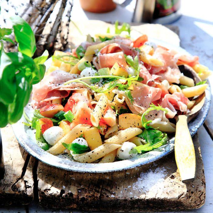 Pastasallad Med Skinka Och Mozzarella Recept Pastasallad Mozzarella Recept Recept