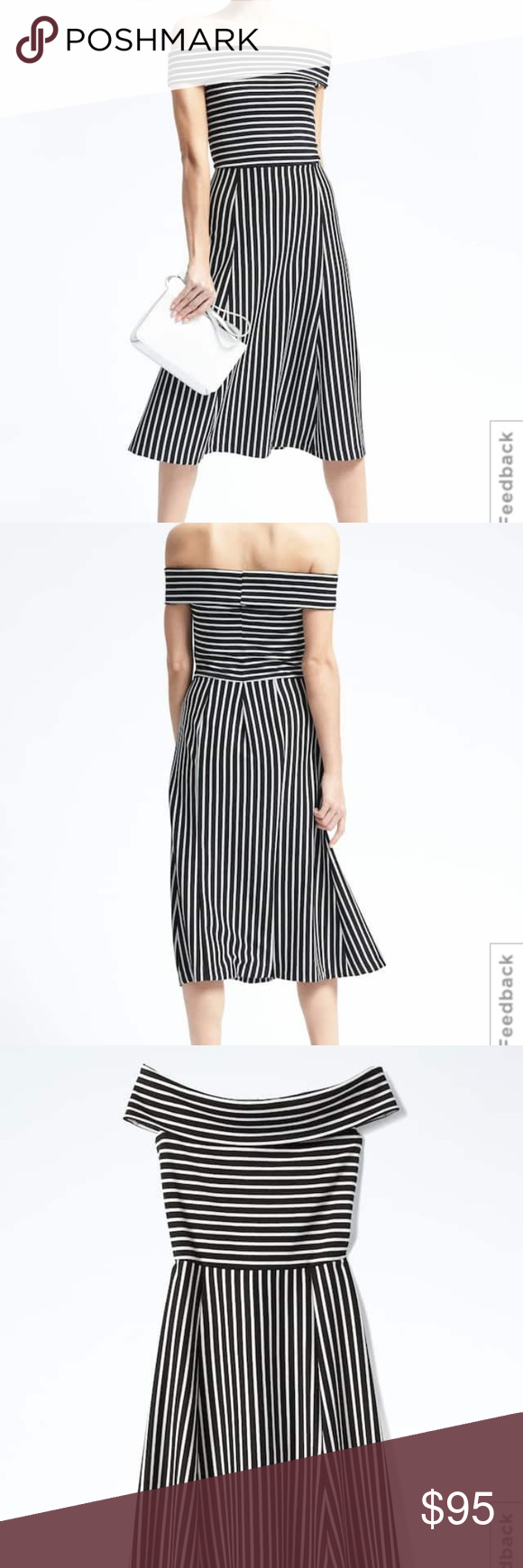 16a3f81f6b04c Banana Republic Striped Off The Shoulder Dress Perfect condition - only  worn once. Black and
