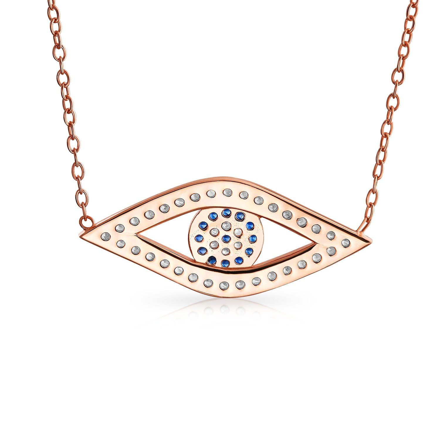 Photo of Evil Eye CZ Station Pendant Necklace Rose Gold Plated Sterling Silver