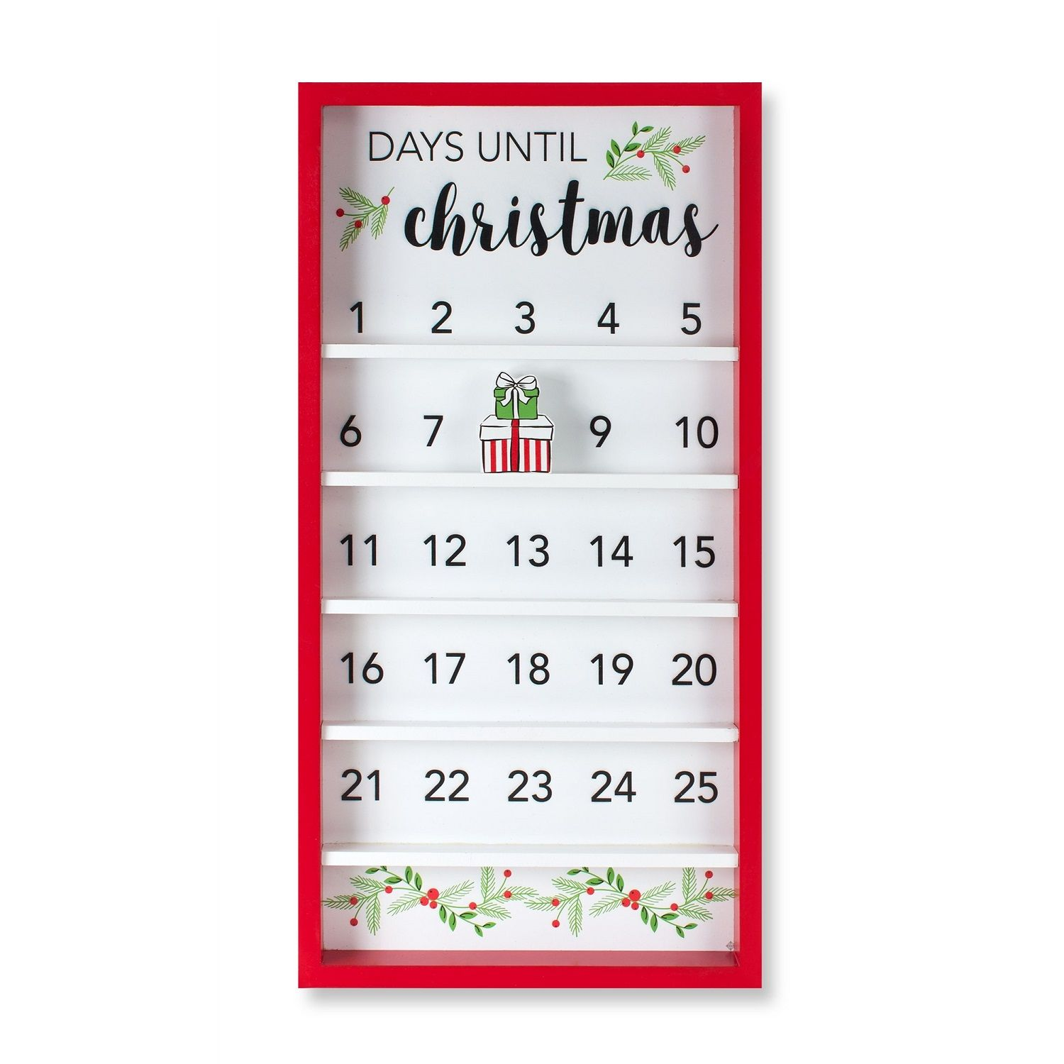 Set Of 2 White And Red Christmas Countdown Calendar 25 In 2020 Christmas Countdown Calendar Christmas Wall Decor Countdown Calendar