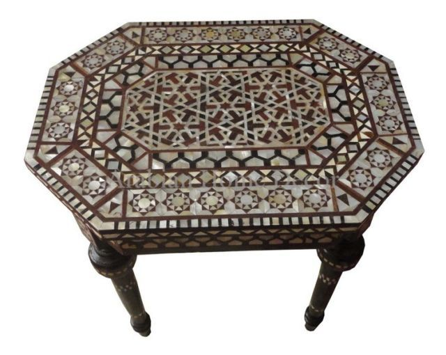 Moroccan End Table Made Of Pearls And Wood.