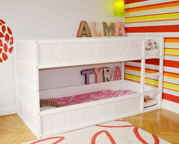 ikea kura hack extra panel added onto the bottom bed to keep a teeny tot from rolling onto. Black Bedroom Furniture Sets. Home Design Ideas