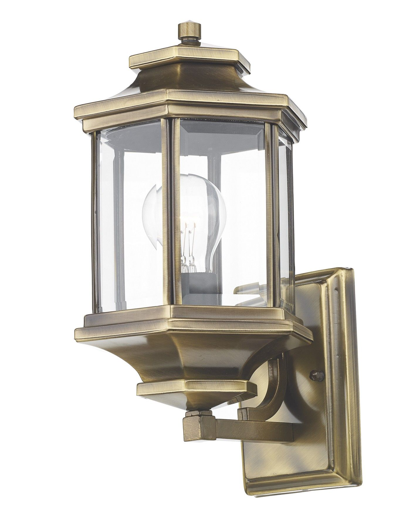 Ladbroke Lantern Antique Brass Complete With Bevelled Glass Wall Lights Outdoor Wall Lighting Wall Lantern
