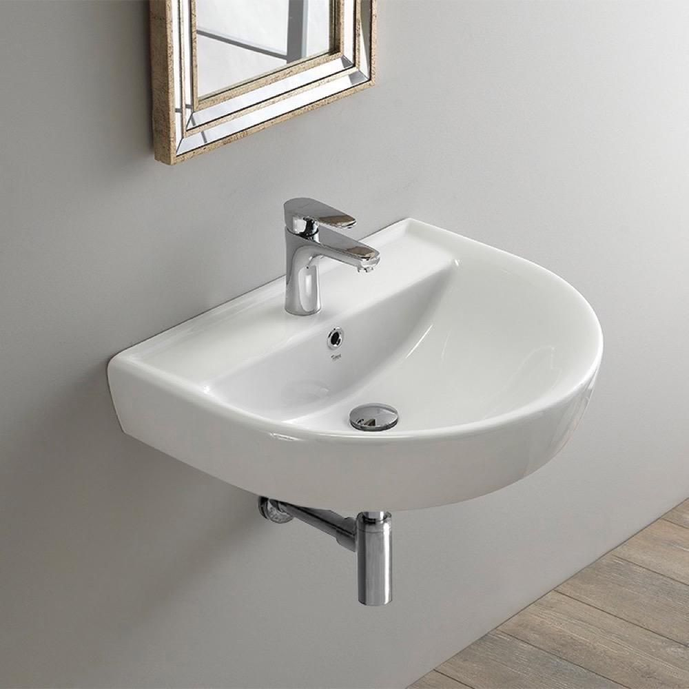 Nameeks Bella Wall Mounted Bathroom Sink In White Cerastyle 003100 U One Hole The Home Depot Wall Mounted Bathroom Sinks Wall Mounted Sink Small Bathroom Sinks