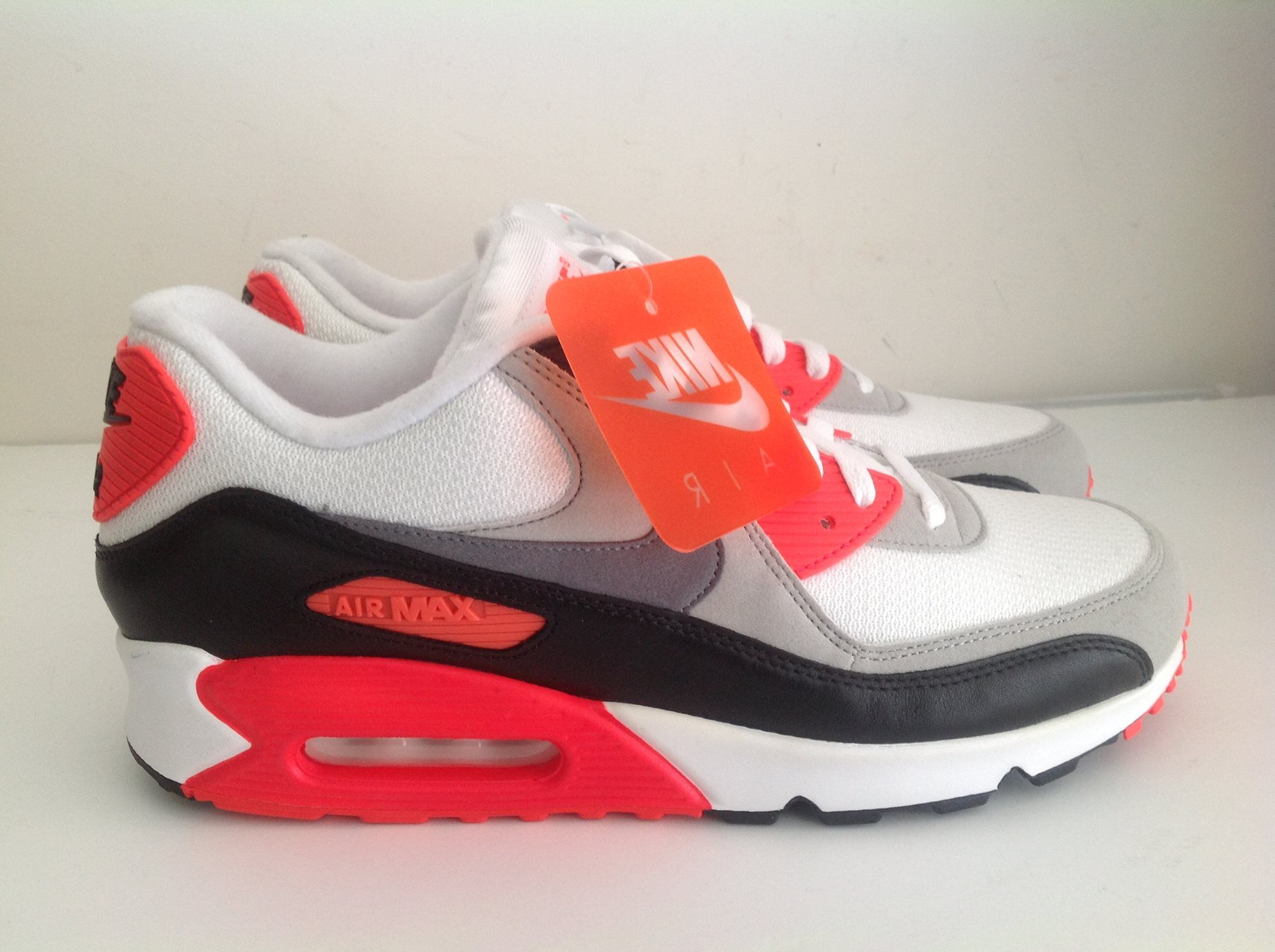 on sale 75d9b 613aa Nike Air Max 90 OG Infrared White Cool Gray Black 725233 106 brand new size  11 with original box style code  725233 106 colorway  white cool gray  infrared ...