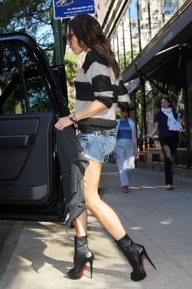 c31fa71197b Victoria Beckham does boots + shorts right. Alta Bouton Ankle Boots ...