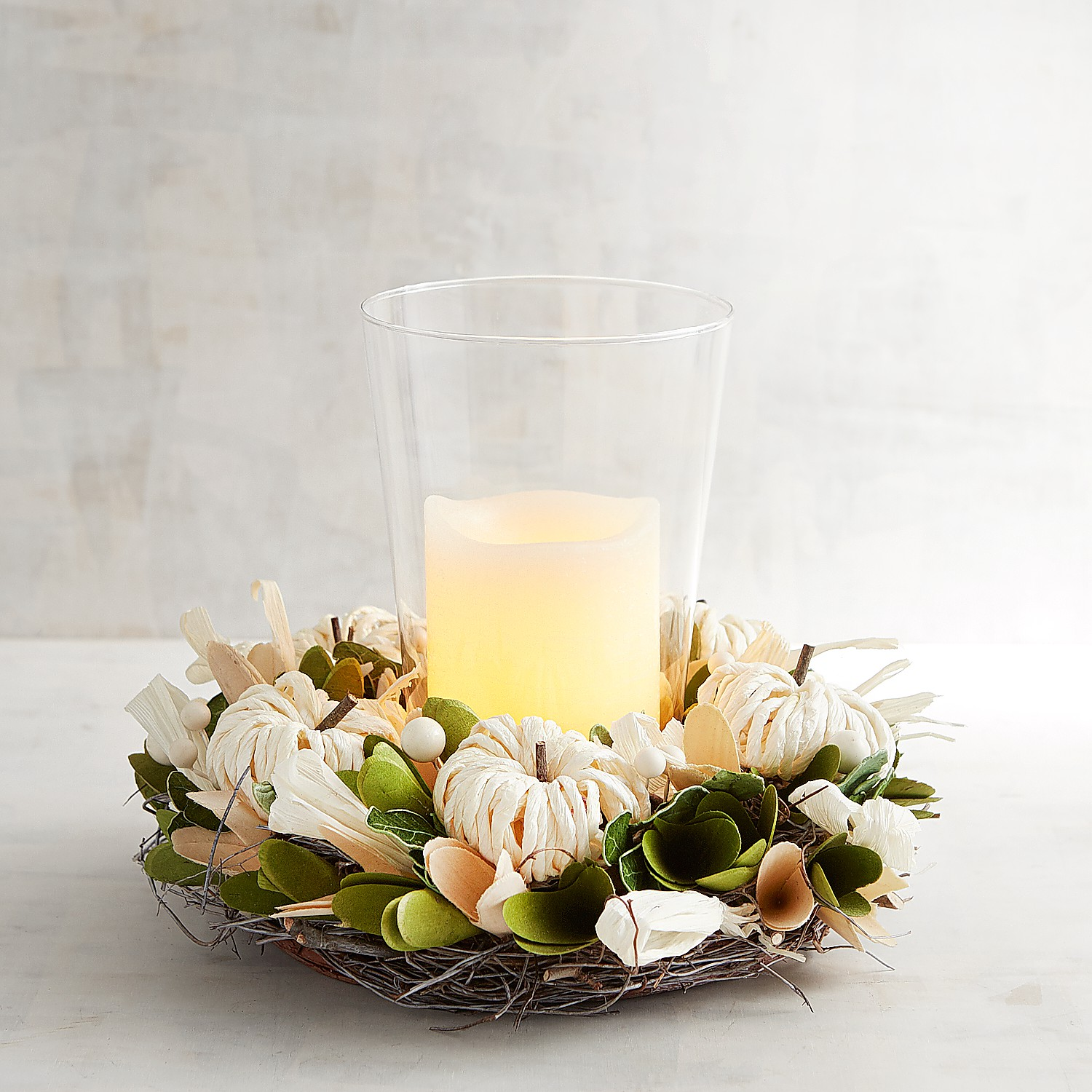 White pumpkin floral hurricane candle holder products pinterest