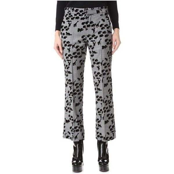 Marc Jacobs Animal Cropped Bowie Pants (€445) ❤ liked on Polyvore featuring pants, capris, plaid multi, zipper pants, animal pants, animal print pants, marc jacobs and tartan pants