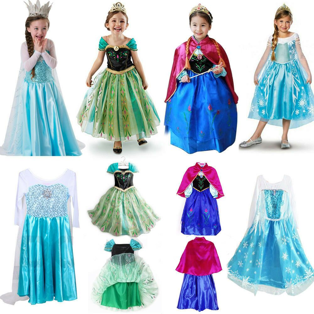 Princess Fancy Dress Elsa Anna Cosplay Costume Party Dress Up Cape for Kids Girl