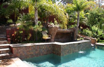 Pool with Hillside Slide and Raised Spa - tropical - landscape - los ...