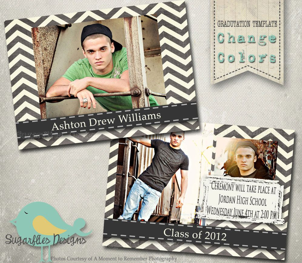 Chevron Graduation Announcement Templates - Senior Graduation 9 ...