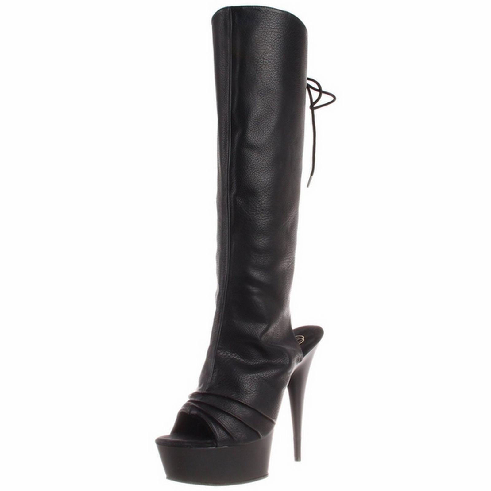 Pleaser High Heel Black Spike Heel Knee Boot Open Toe Delight-2018 Black Pu
