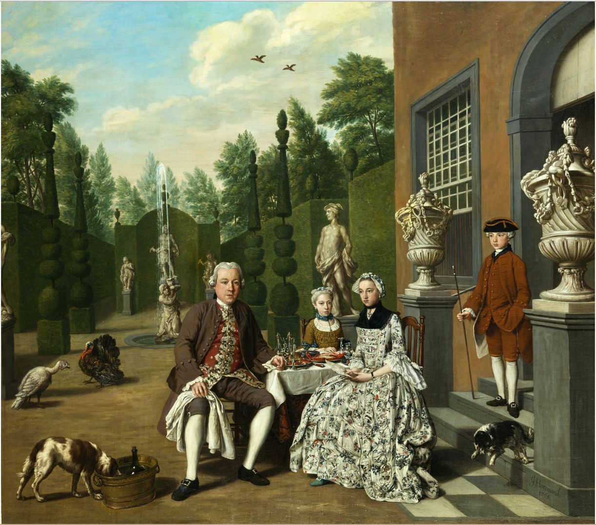 Portrait d'une famille noble dinant devant un parc, avec des chiens, 1765 Jan Josef Horemans l'aîné