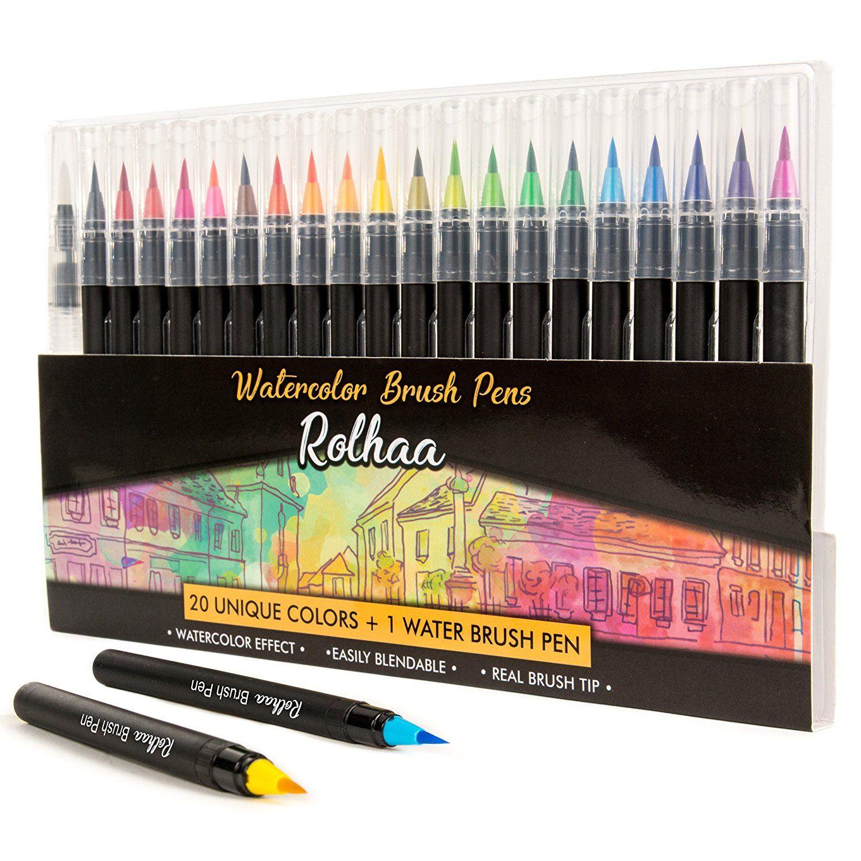 Amazon: Watercolor Brush Pens - 20 Watercolor Markers Set + 1 Water ...