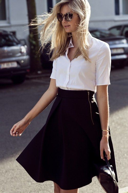 white oxford and a neutral a-line/swing skirt. currently one of my favorite looks.
