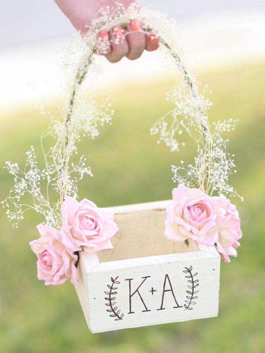 Blush flower girl Basket Flower girl basket Wedding decor flower girl basket with flowers