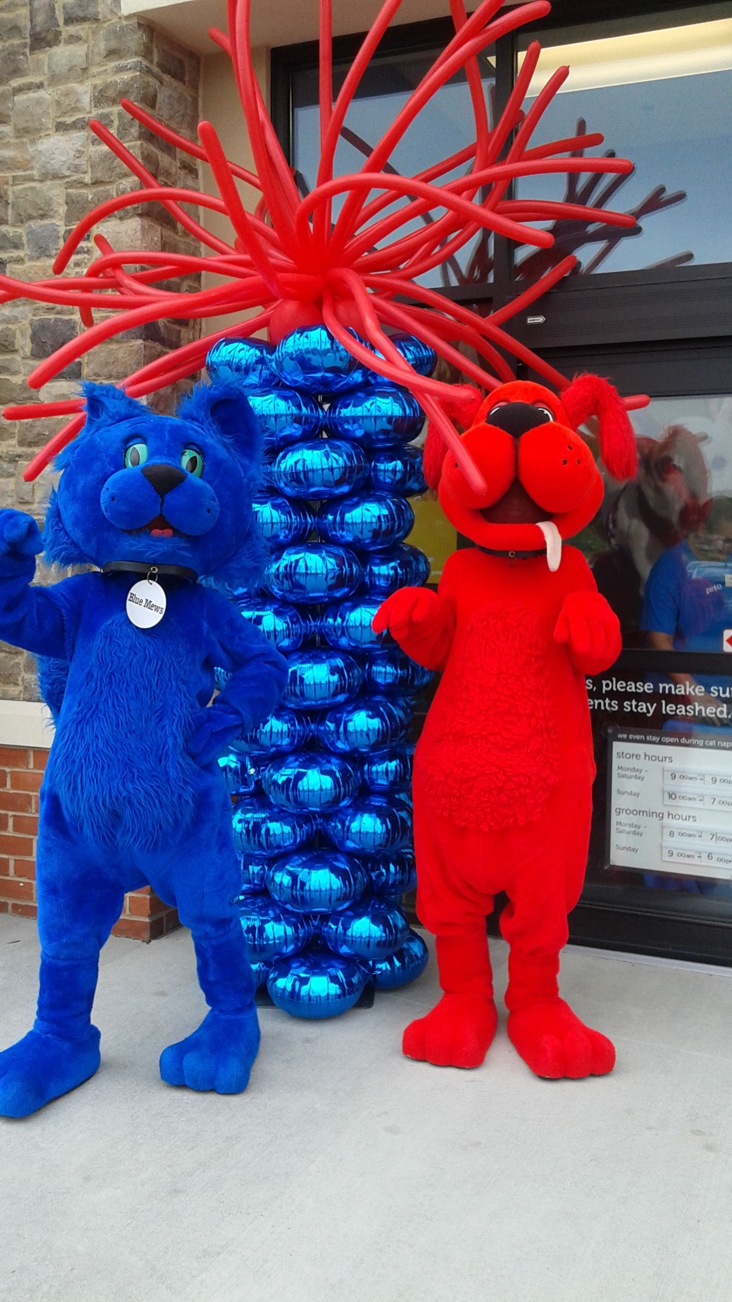 A Wonderful Photo With The Petco Mascots Blue Mew And Red Ruff And