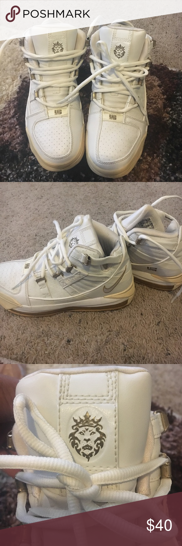 Lebron James sneakers All white. Super comfy. Downsizing my closet and never wear these anymore. Nike Shoes Sneakers
