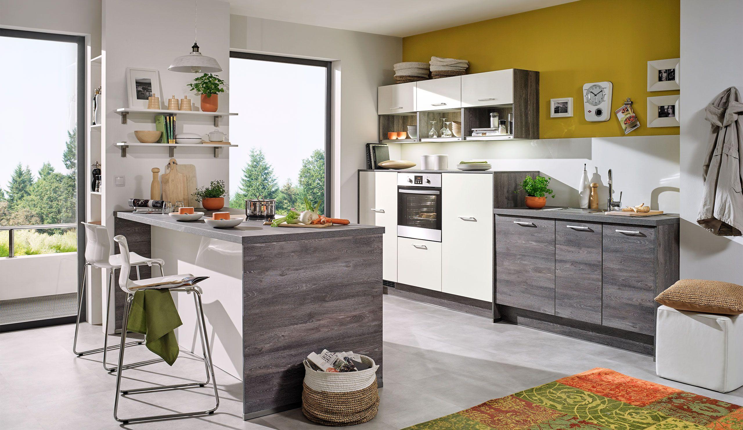 pura1100 0080 einbauküche steineiche weiß | Moderne Küchen ...
