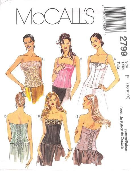 MCCALL'S 2799 - FROM 2000 - MISSES LINED BUSTIERS