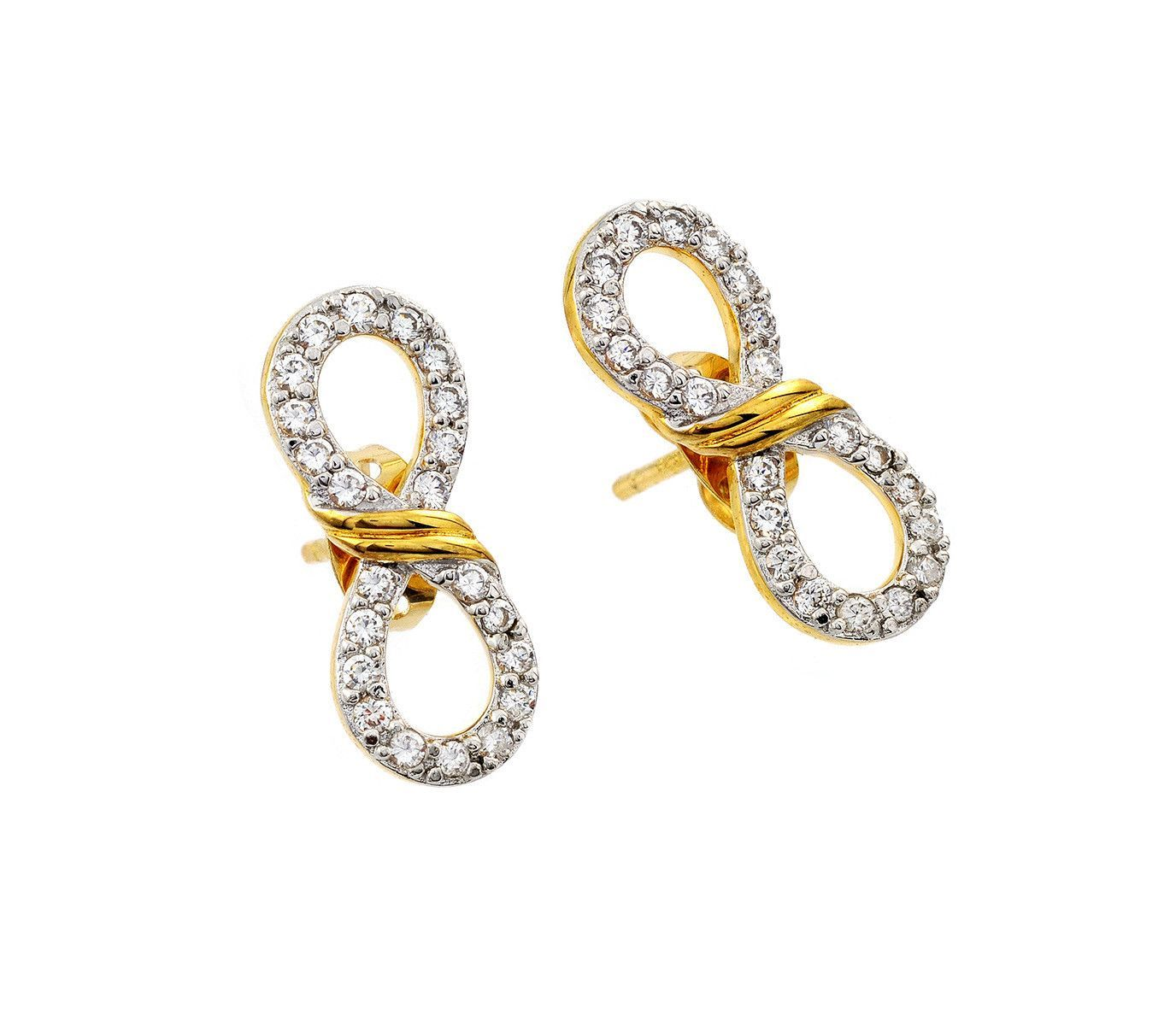 INFINITY GOLD PLATED 925 STERLING SILVER EARRINGS STUDS WITH ZIRCONIA