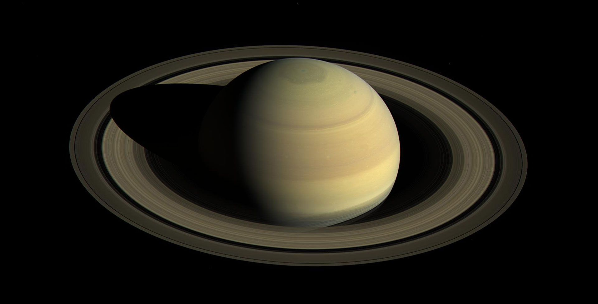 Planet Saturn Rings Above Saturn S Rings And Inner Moons The