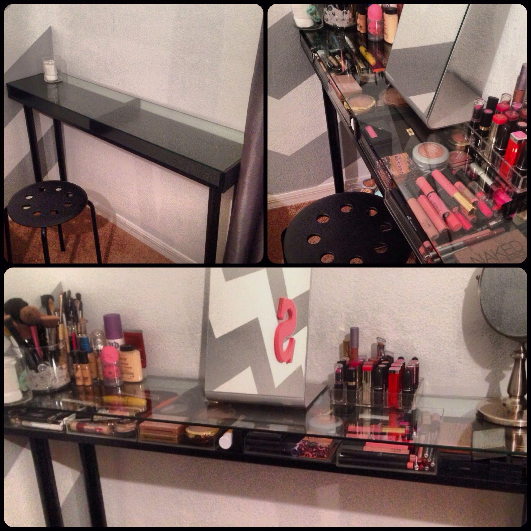 DIY makeup vanity from ikea! Ekby gruvan shelf that I