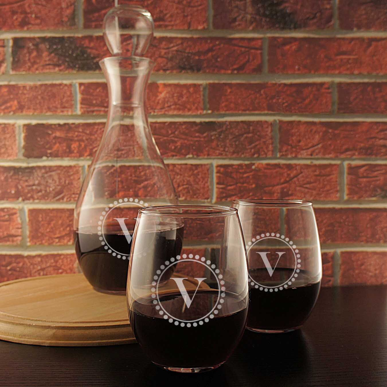 Wine Decanter Engraved With Couples Monogram Design Options See