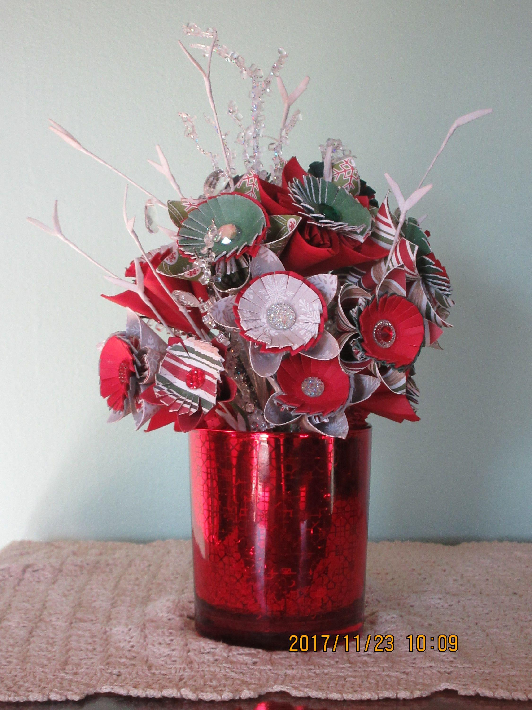 Christmas Origami Arrangement/ Paper Flower Bouquet/ Red