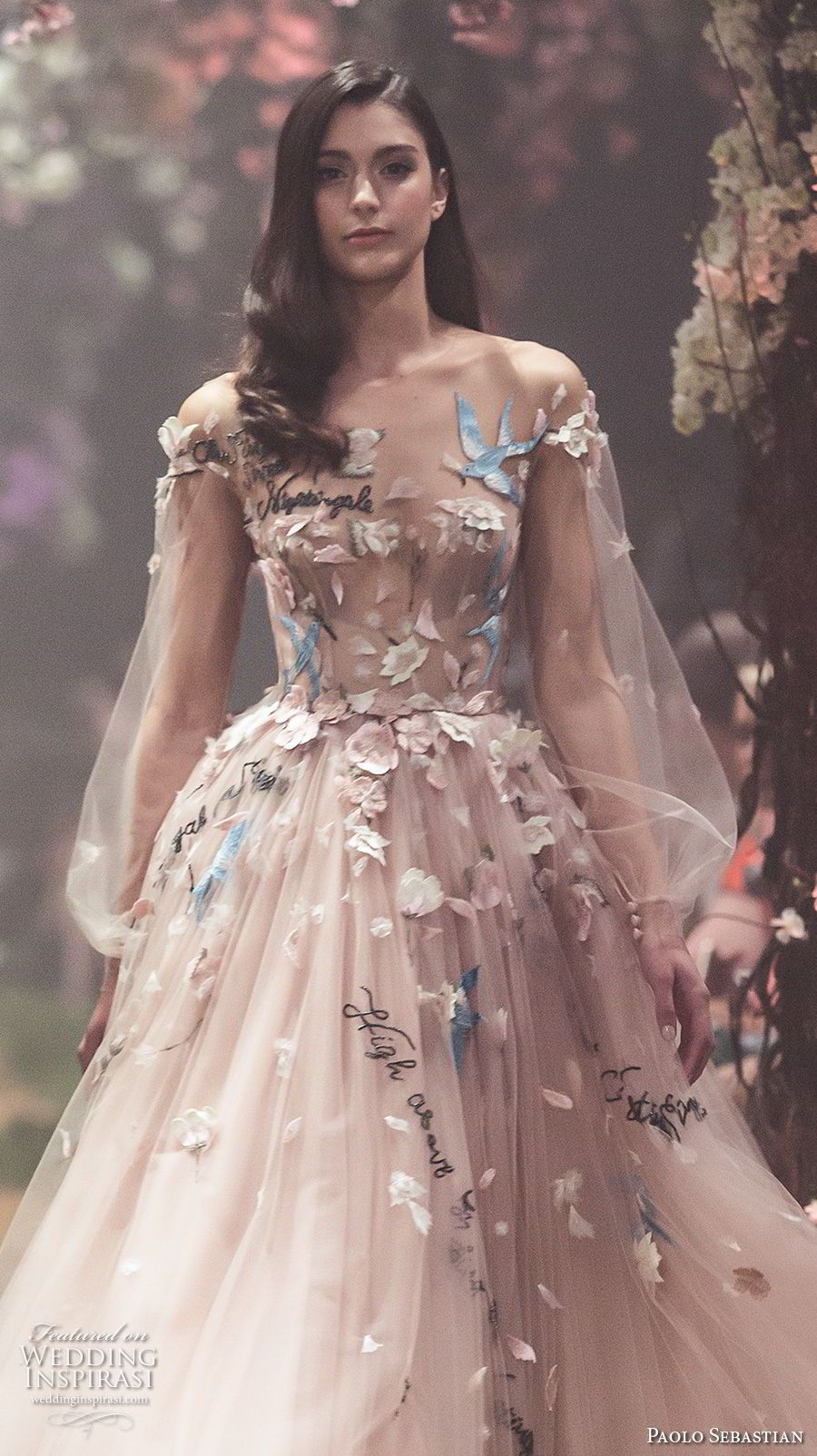Paolo Sebastian Vinatge Prom Dresses Long Sleeves Flower Embroidery Tea Length