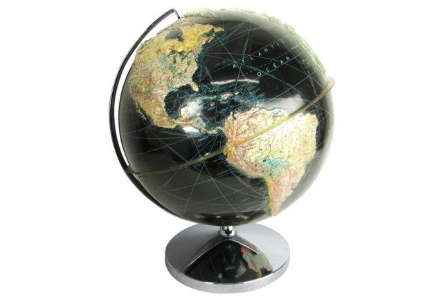 Black Globe w/ Topographical Overlay