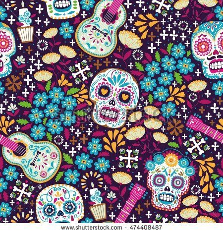 Seamless Calaveras Background Day Of The Dead Pattern