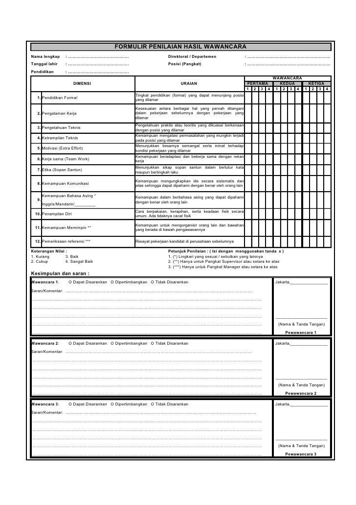 formulir penilaian hasil wawancara nama lengkap