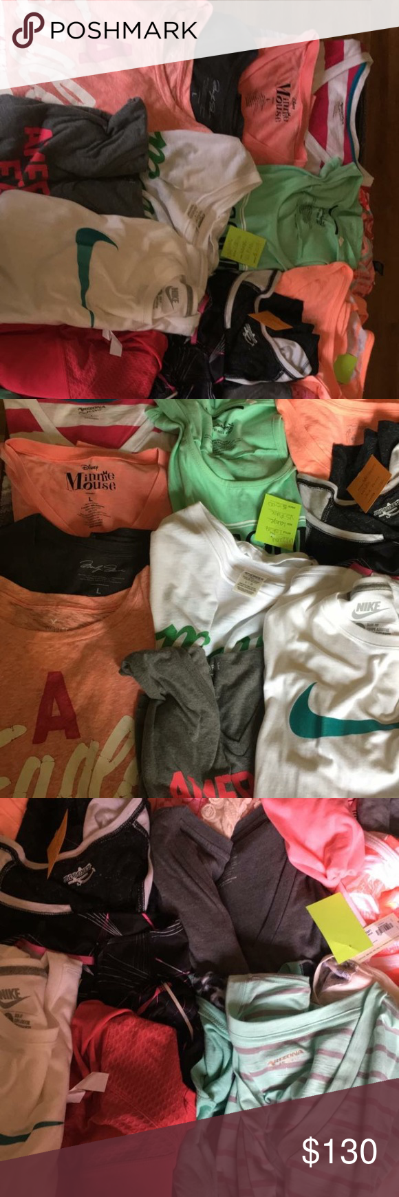 Large clothes Lot. All bundle together All size large. Some NWT. From hoodies, black pea coat long sleeve athletic tops and short sleeve. Brands Nike, American Eagle, Arizona Jean Company, pink, Victoria secret. All from a smoke free home. 30 pieces Clothing. All bundled. You receive all 30 pieces. All size large. American Eagle Outfitters Tops Sweatshirts & Hoodies