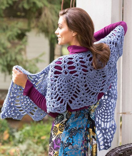 Lacy Elegance Shawl Free Crochet Pattern in Red Heart Yarns | To do ...