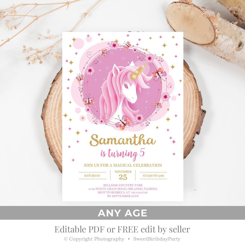Rose Gold Unicorn Birthday Invitation Printable Girl Pink And Gold