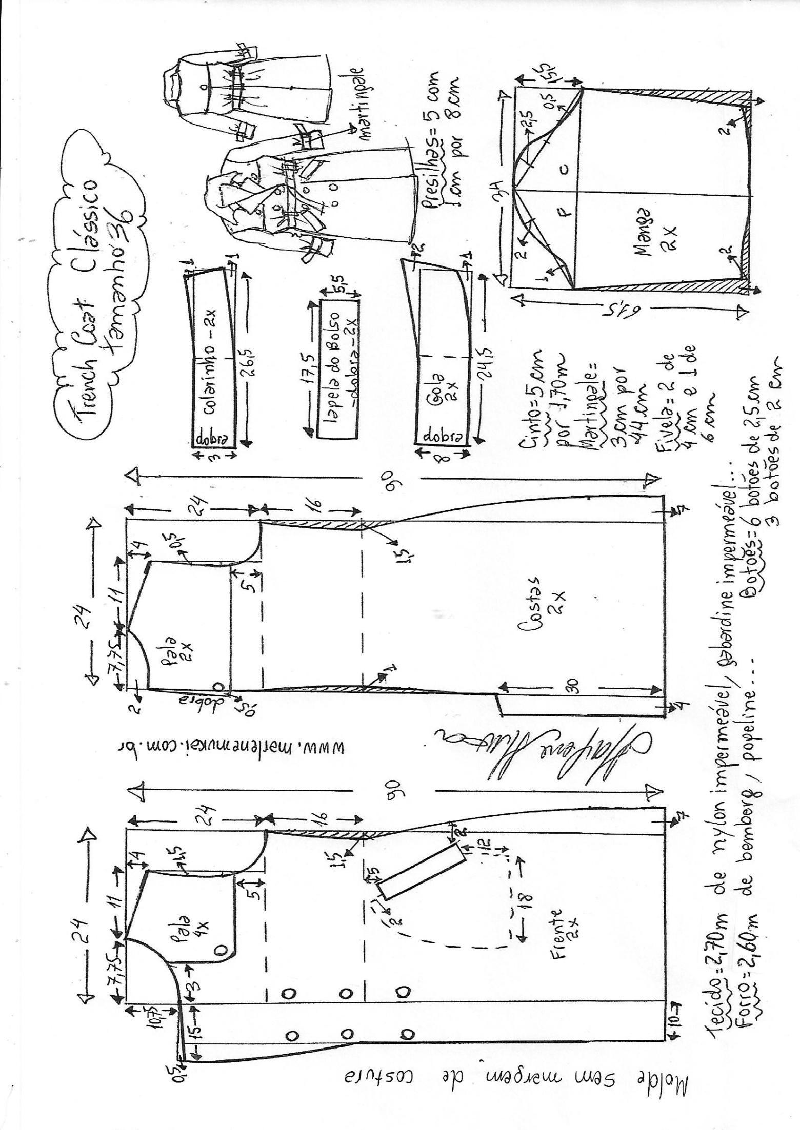 Casaco trench coat clássico | DIY - molde, corte y costura - Marlene ...