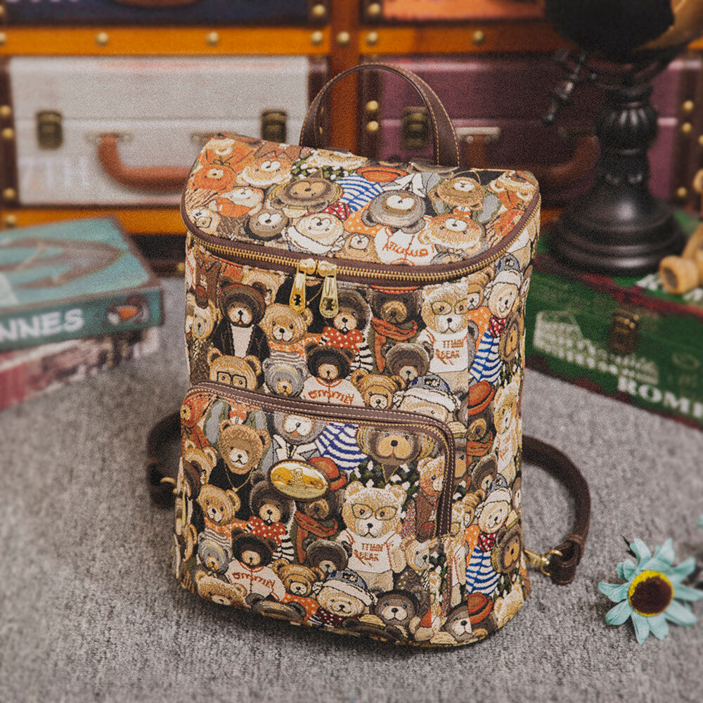 Women Bucket Bag Large Capacity Bear Backpack