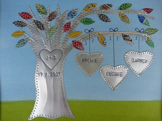 Tin Wedding Anniversary Gift: Tin Anniversary Gift 10 Year Anniversary Gift Family Tree