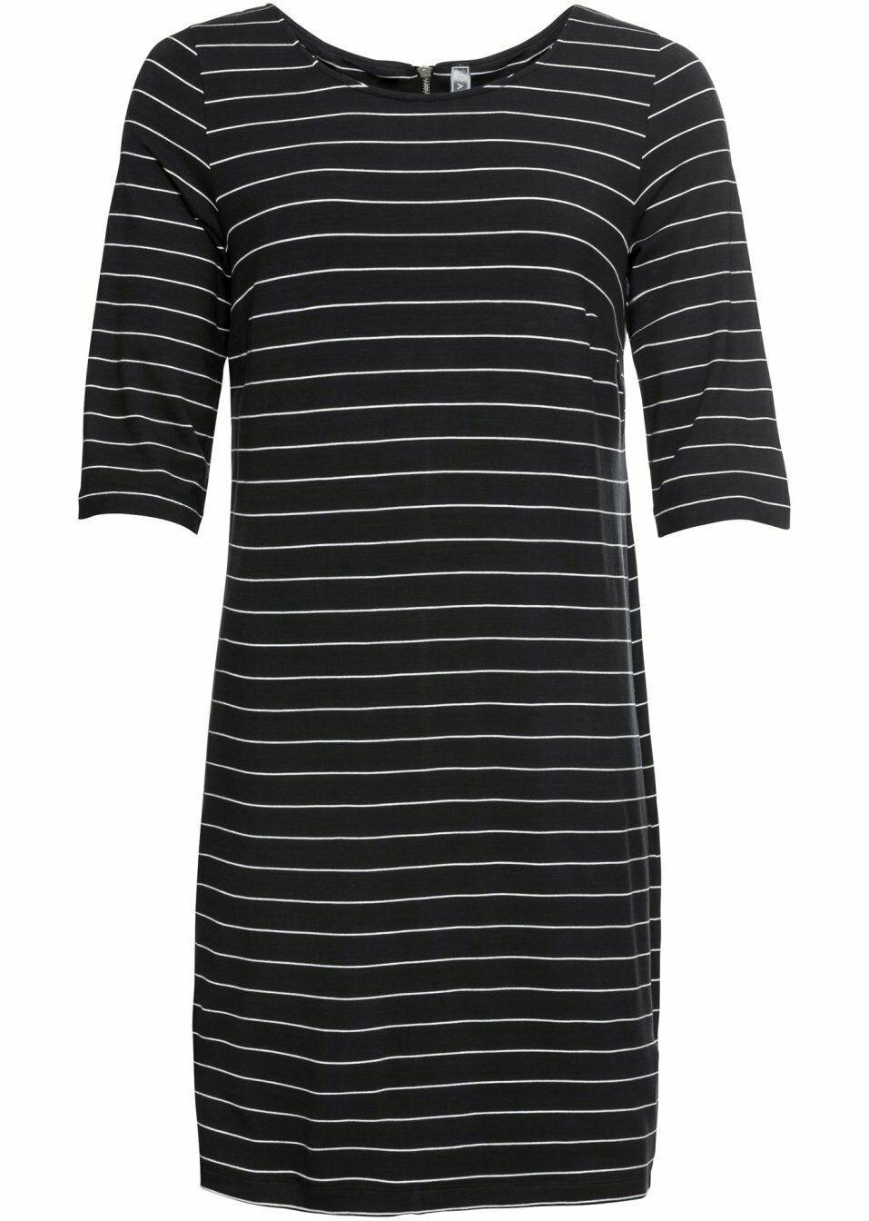 damen jerseykleid mit reißverschluss, 301573 in schwarz weiß