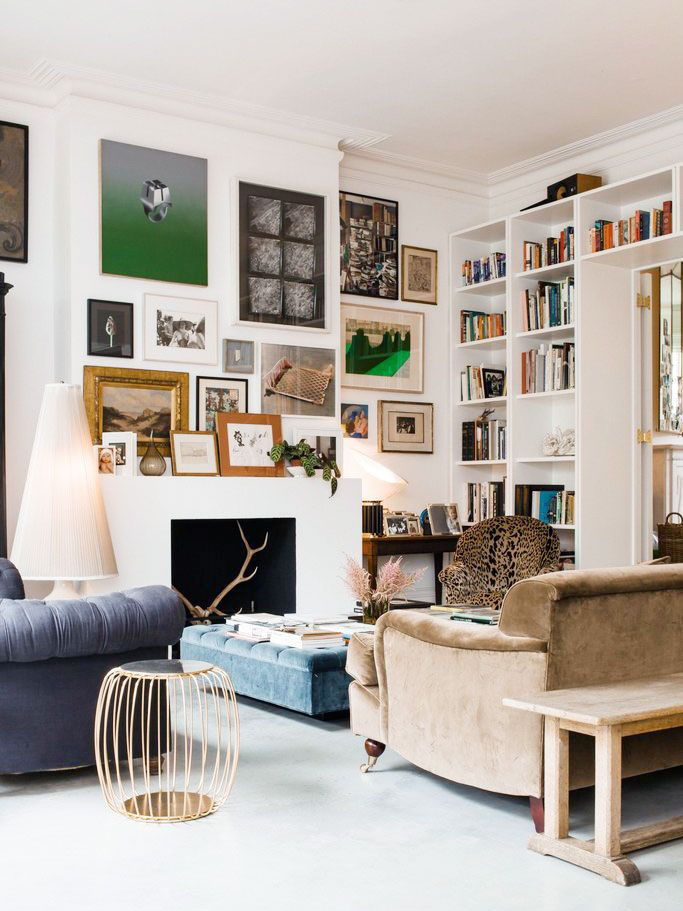 Cozy living room with lots of art